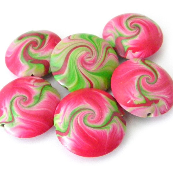 Polymer Clay Swirl Lentil Beads in Fuchsia and Lime Green