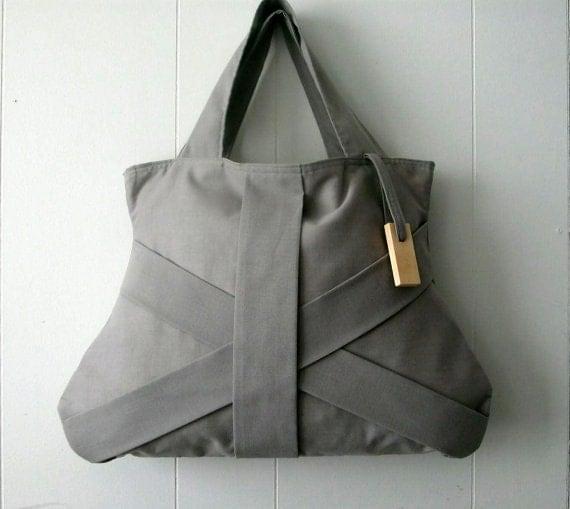 GREY HANDBAG / dark grey purse / grey tote bag / grey fashion bag / chic bag / medium grey handbag - Hashibags