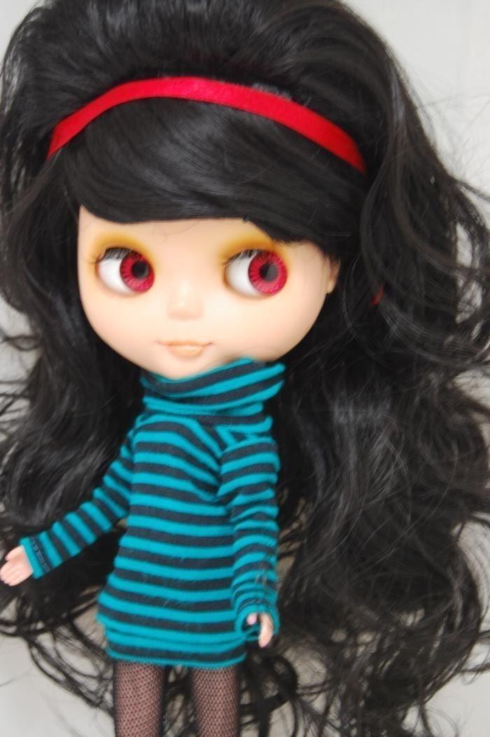 Pretty Black curly Wig for Blythe dolls