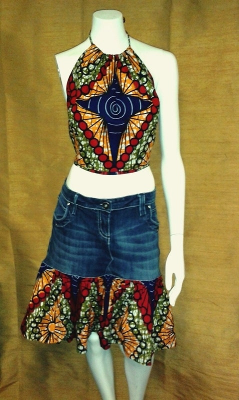 REDUCED FOR CLEARANCE  Blue Star African Wax Print and Denim Mini and Halter Top Dress
