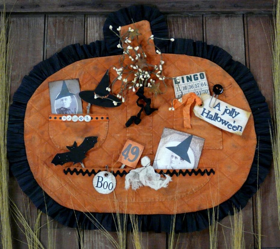 New 2011 Vintage HALLOWEEN treasures Pumpkin Pocket E Pattern -  email primitive pdf old photos tags grubby prim primitive