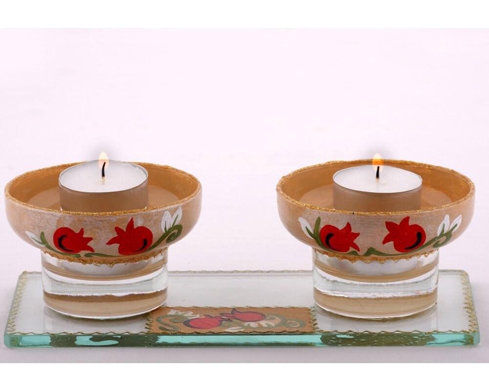 shabbat candle holders pomengranates by lddecoline on etsy