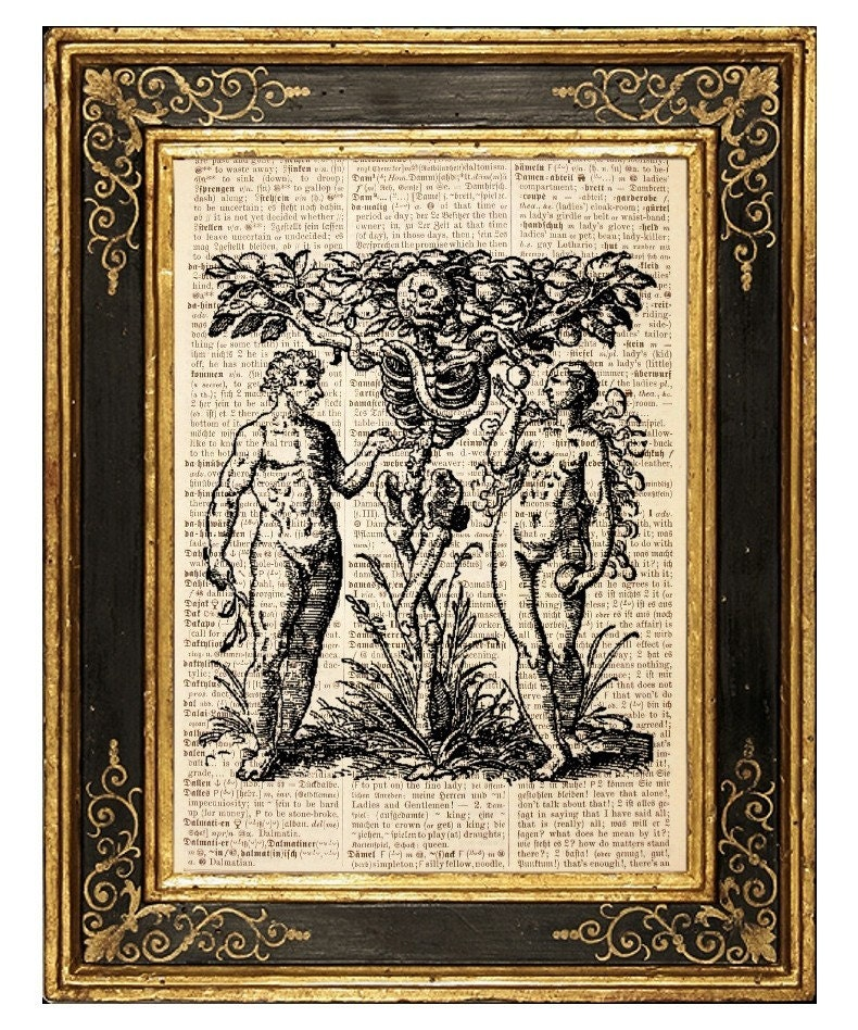 FREE SHIPPING WORLDWIDE - Tree of Knowledge as Death (Adam and Eve) - Vintage Book Page Art Print
