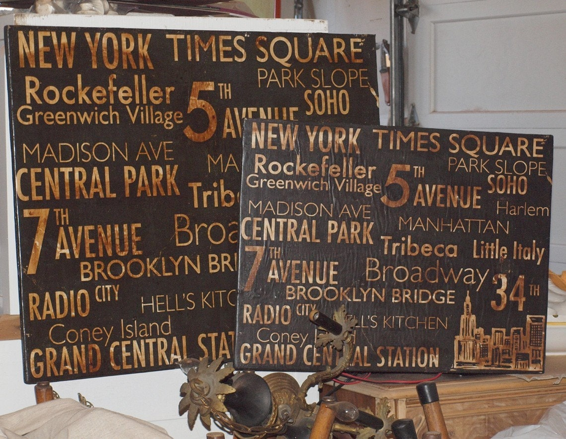 Items Similar To New York Salvaged Wood Wall Decor