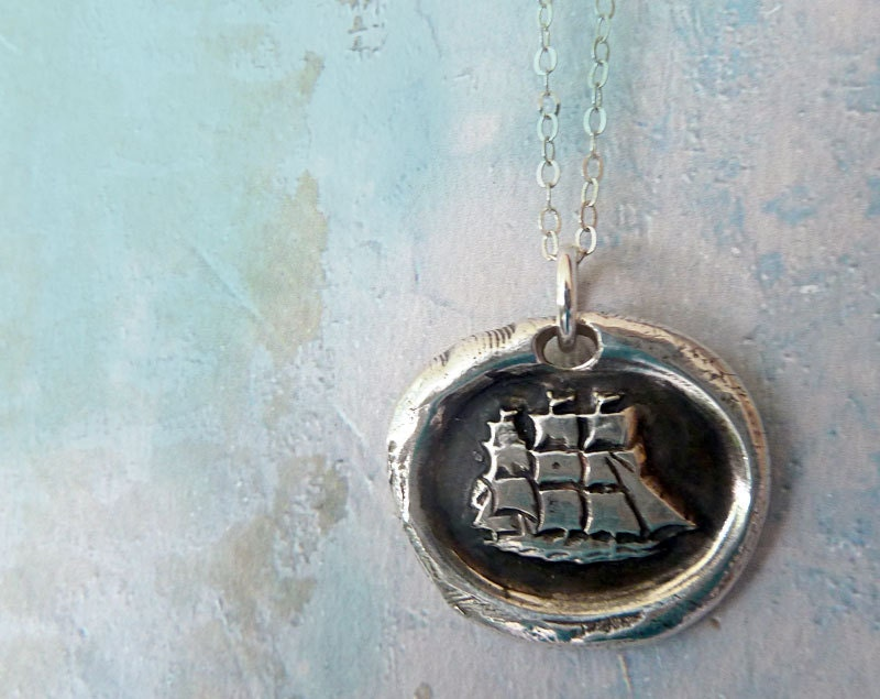 Captain Wentworth's Ship Wax Seal Necklace. Fine Silver Nautical Jewelry - RenataandJonathan