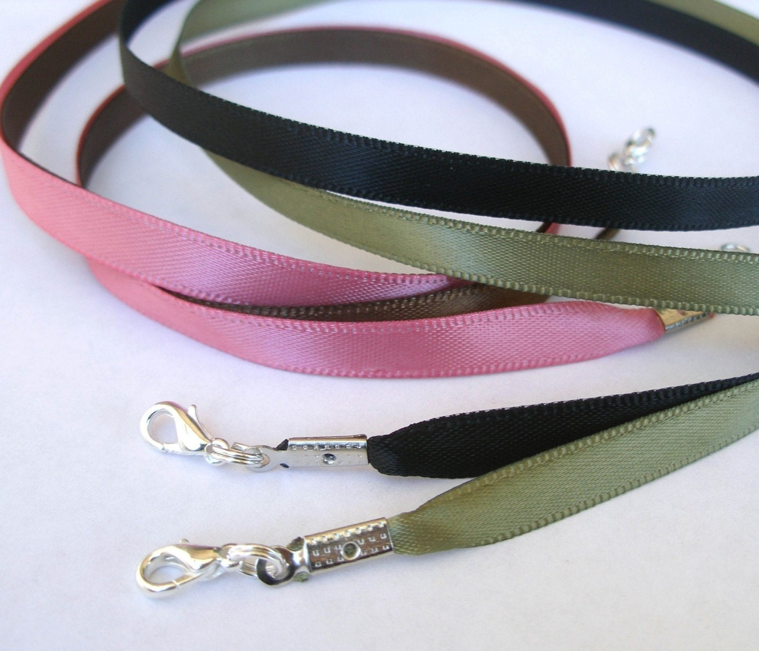 20 - Satin Necklace Cords - Any Length, 16 Colors - for Scrabble/Glass Tile Pendants all Aanraku bails- Handmade in USA