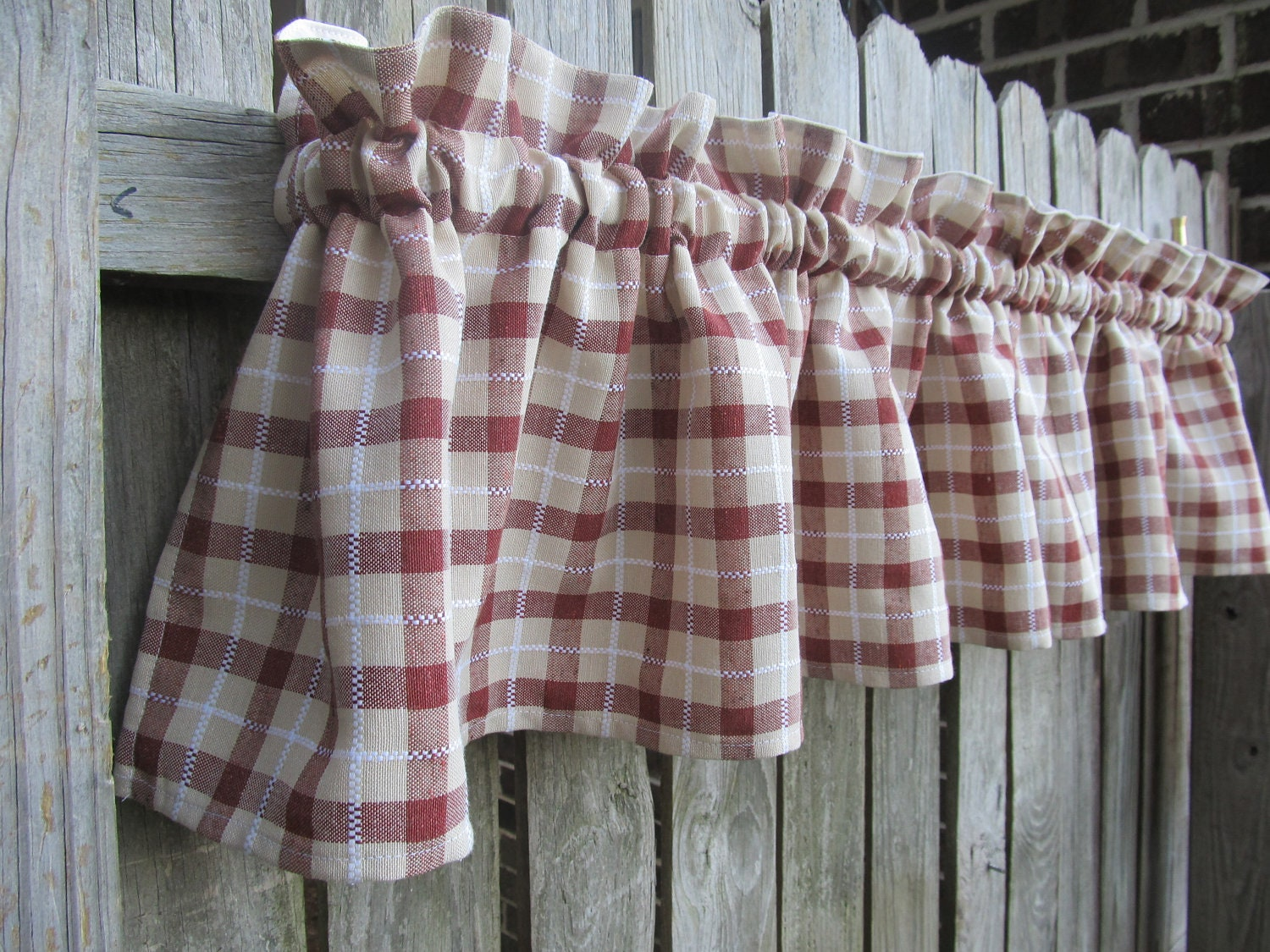 Farmhouse Plaid Country Cabin Kitchen Window Curtain By Homestyled
