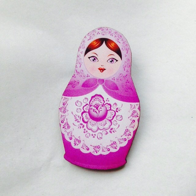 Light Purple Russian Doll  Wooden Brooch Pin  Gift Laser Cut  Antique Toy