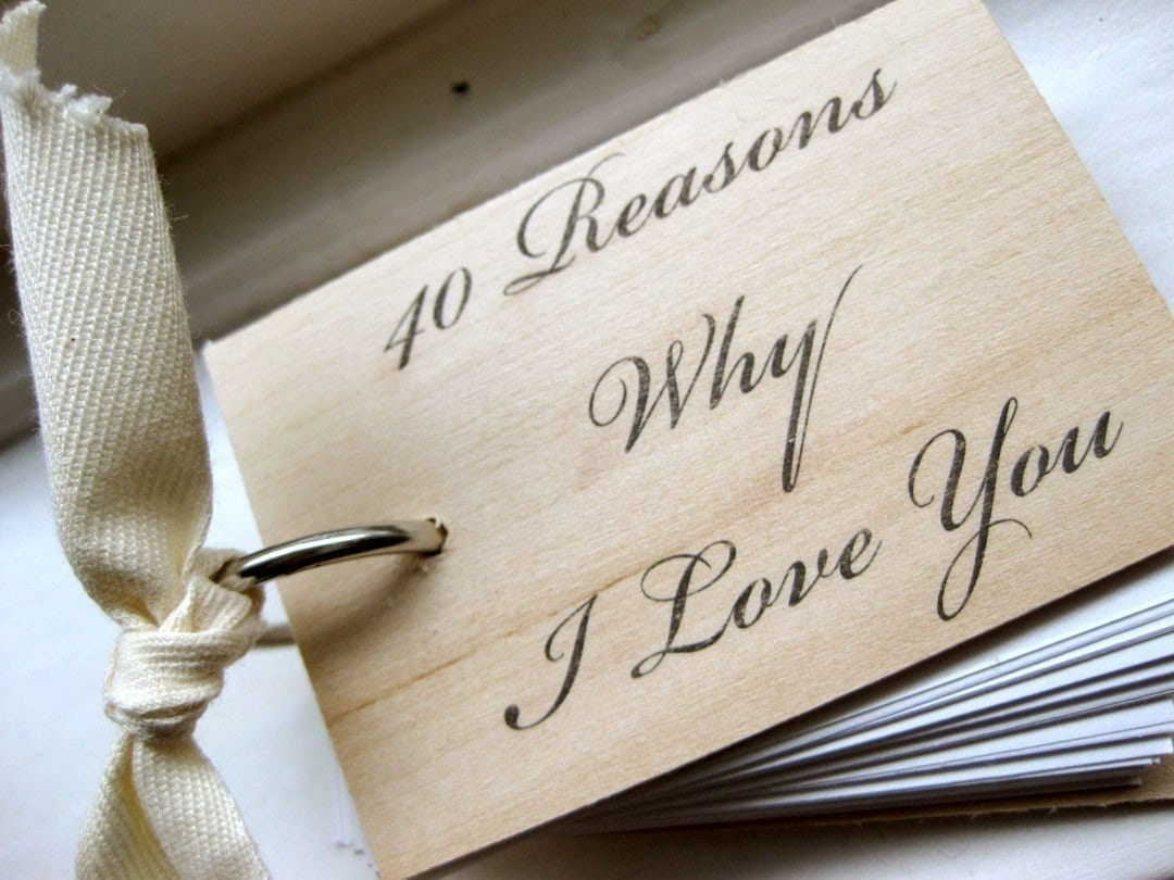 3 in. x 2 in. Wood Mini Notepad (40 Reasons Why I Love You)