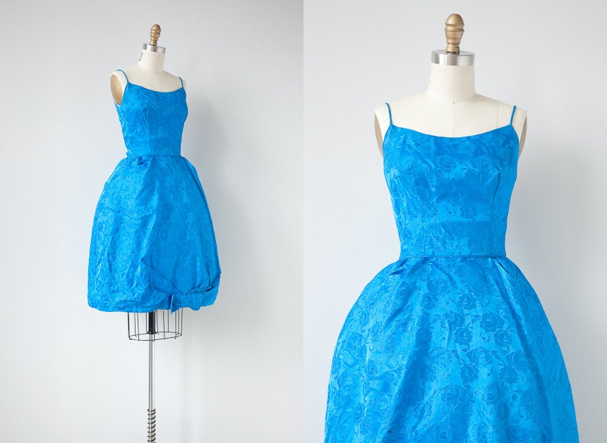 vintage 1960s dress / 1960s cocktail dress / vintage 60s party dress / blue 60s dress