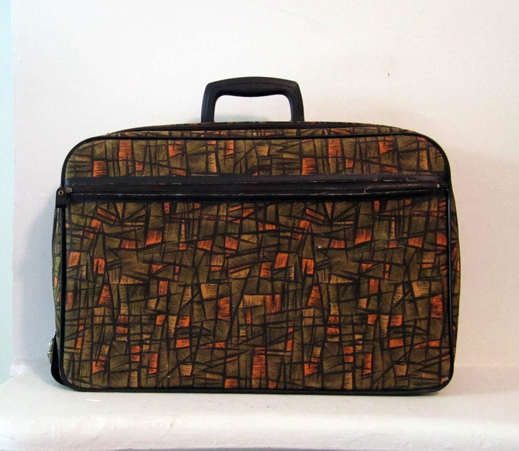 Vintage Bantam Suitcase 1960s Abstract