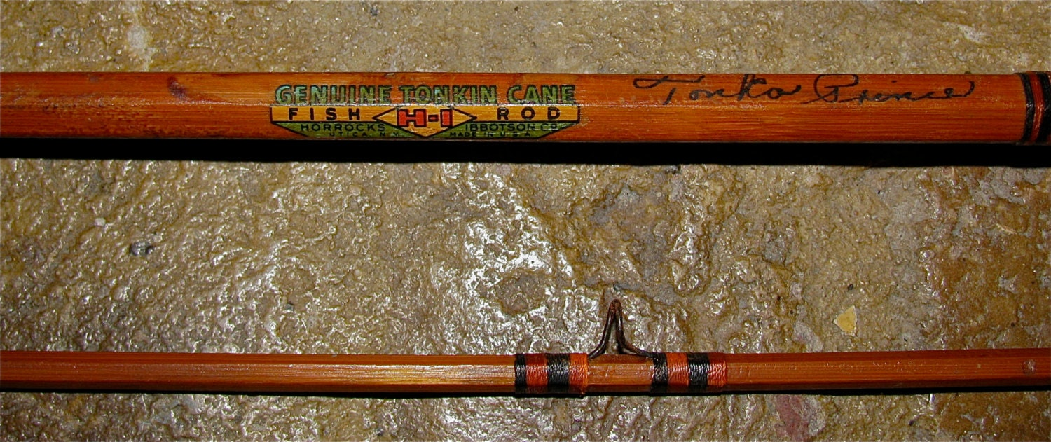 Vintage genuine tonkin cane h i bamboo fly rod by for Antique bamboo fishing rods