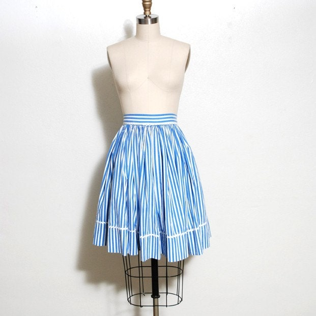 blue and white stripe swing skirt by oldfaithfulvintage