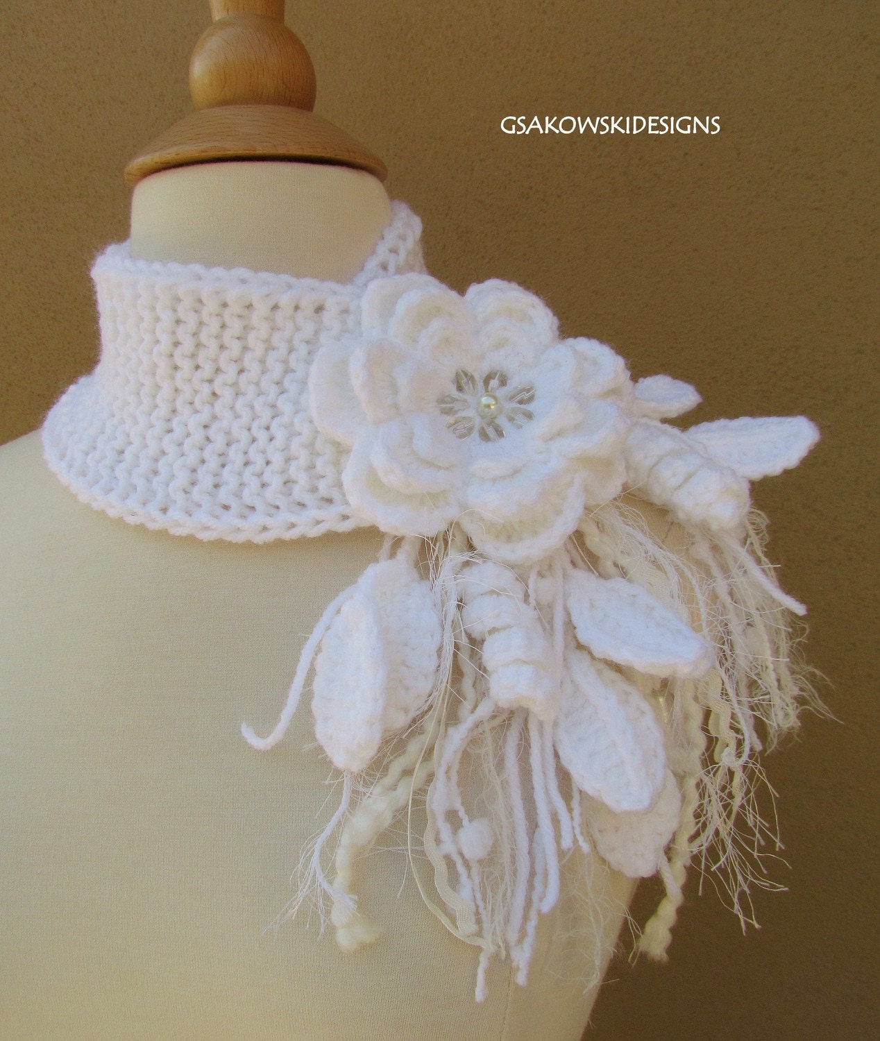 White Flower Scarflette-Reserved listing for oldworldgarden