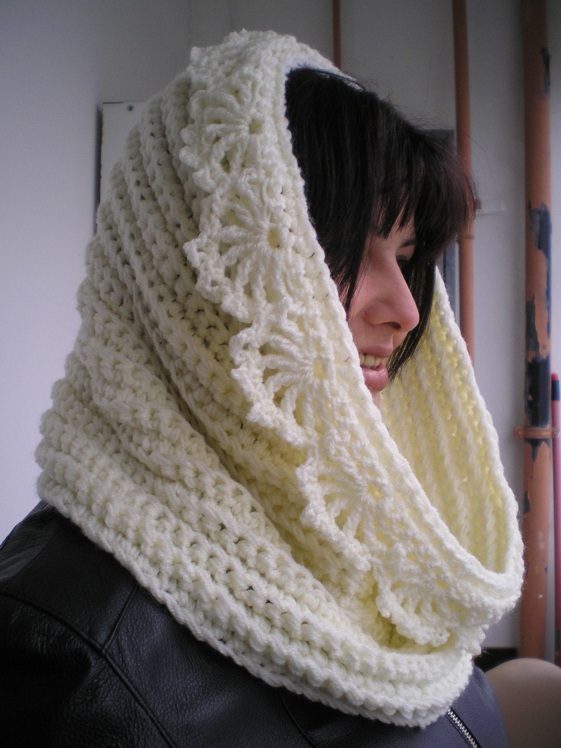 Clear Yellow Flower  Cowl Super Soft Mixed Wool Neckwarmer Woman Cowl