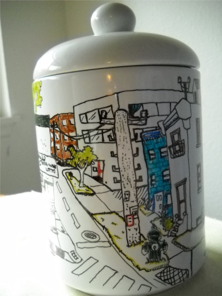 Round the Block - Hand Drawn Cookie Jar