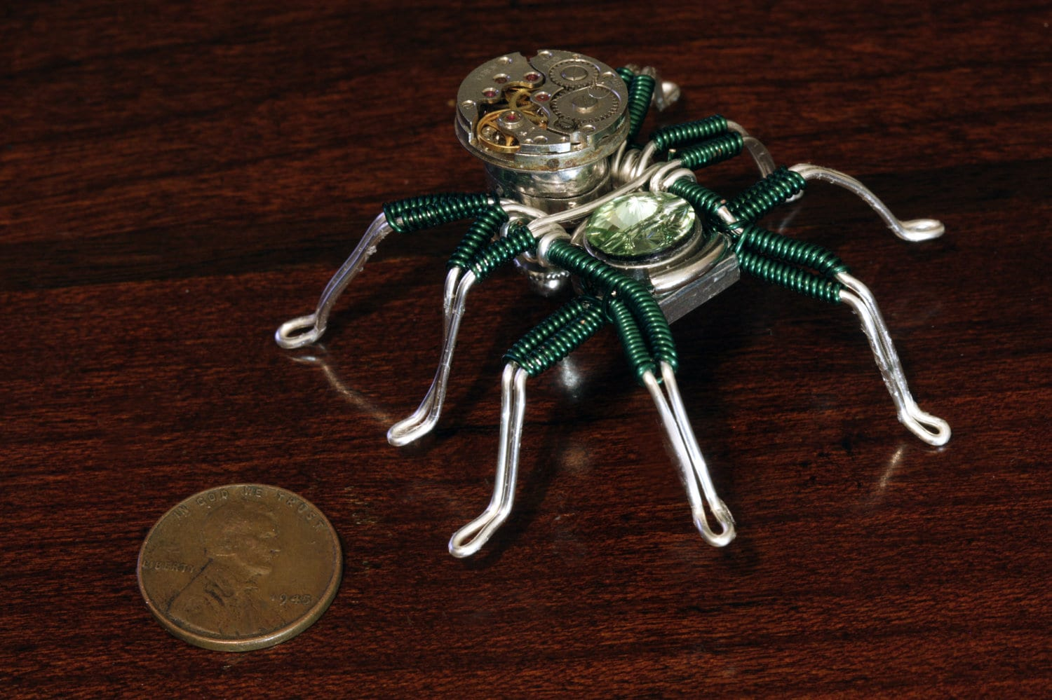 Steampunk Spider Lapel pin Sculpture with Chrysolite Swarovski Crystal and Antique Watch movement