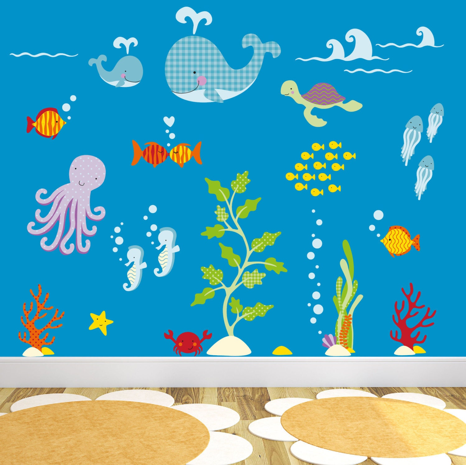 Ocean Decal Under the sea creatures Sea Life Wall Stickers gender neutral wallpaper baby nursery decorations toddler room decor fish