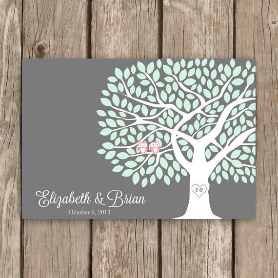 Guest Book Tree with Owls - Wedding Guestbook Tree in Grey - 175 Leaf Guestbook Poster