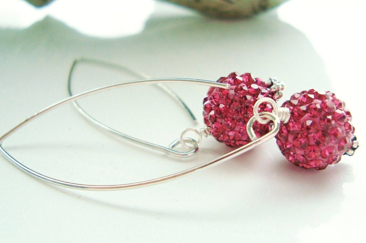 Magenta Pink Earrings, Cabaret, Crystal, Dangle, Long, Silver, Sparkle, Simple, Dangly, Fushia, Hot Pink, Rose,