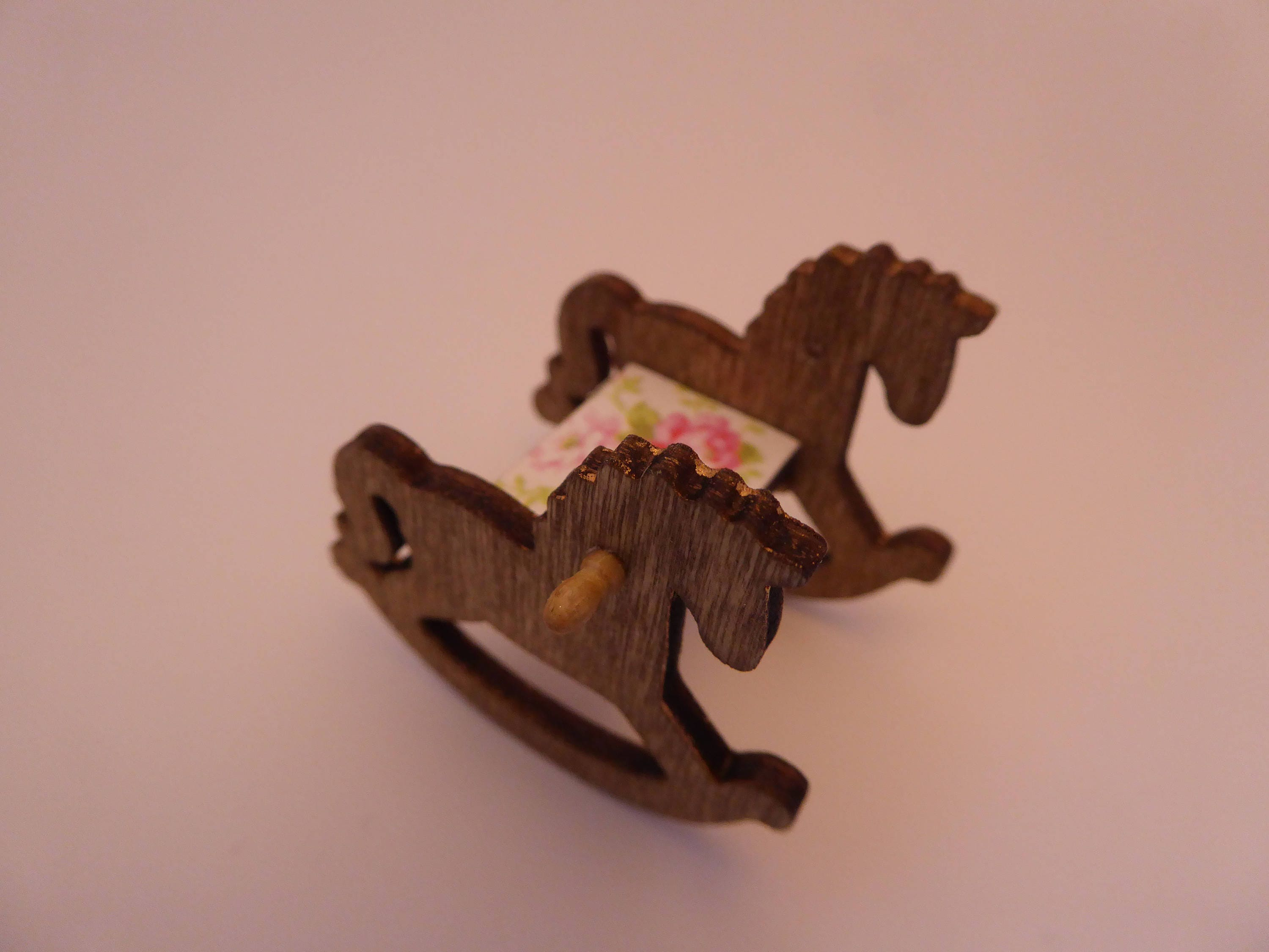 Beautiful handmade miniature wooden rocking horse for the modern 112th scale nursery  floral  shabby chic