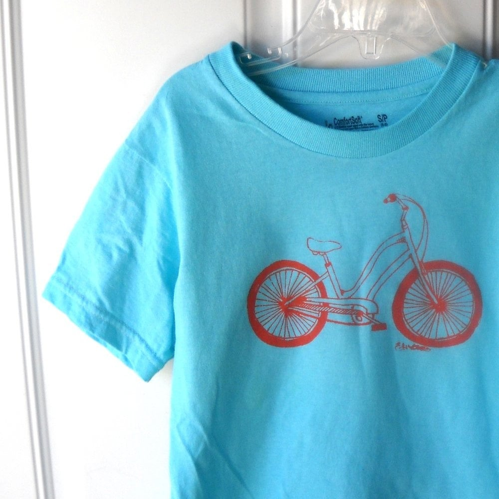 Cruiser bicycle cotton crew neck tee shirt for children and toddlers in turquoise or custom colors - CausticThreads