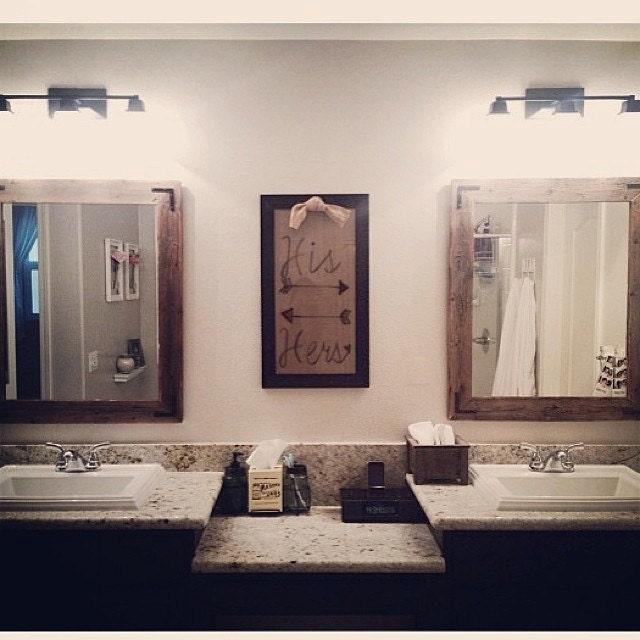 30x36 Bathroom Mirror Set Reclaimed Wood Framed by