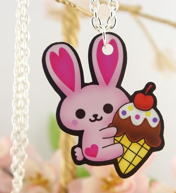 SALE Kawaii Bunny Holding Ice Cream Cone Printed Acrylic Pendant