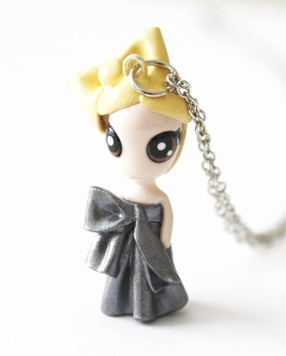 FREE SHIPPING - Lady Gaga - Miniature Sculpture - Charm Necklace