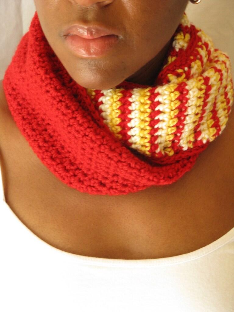 Crochet Fashion Scarf - Striped Red Cream Yellow