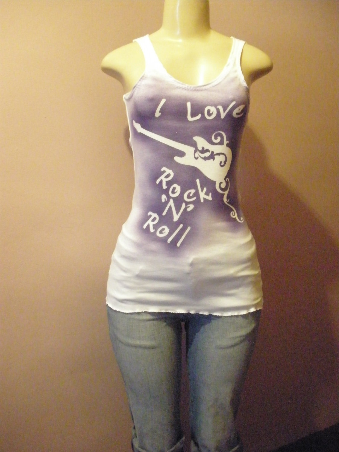 Cool Looking Sleeveless Tank Top with Unique Message ( I Love Rock N Roll ) Size Small/Medium/Large