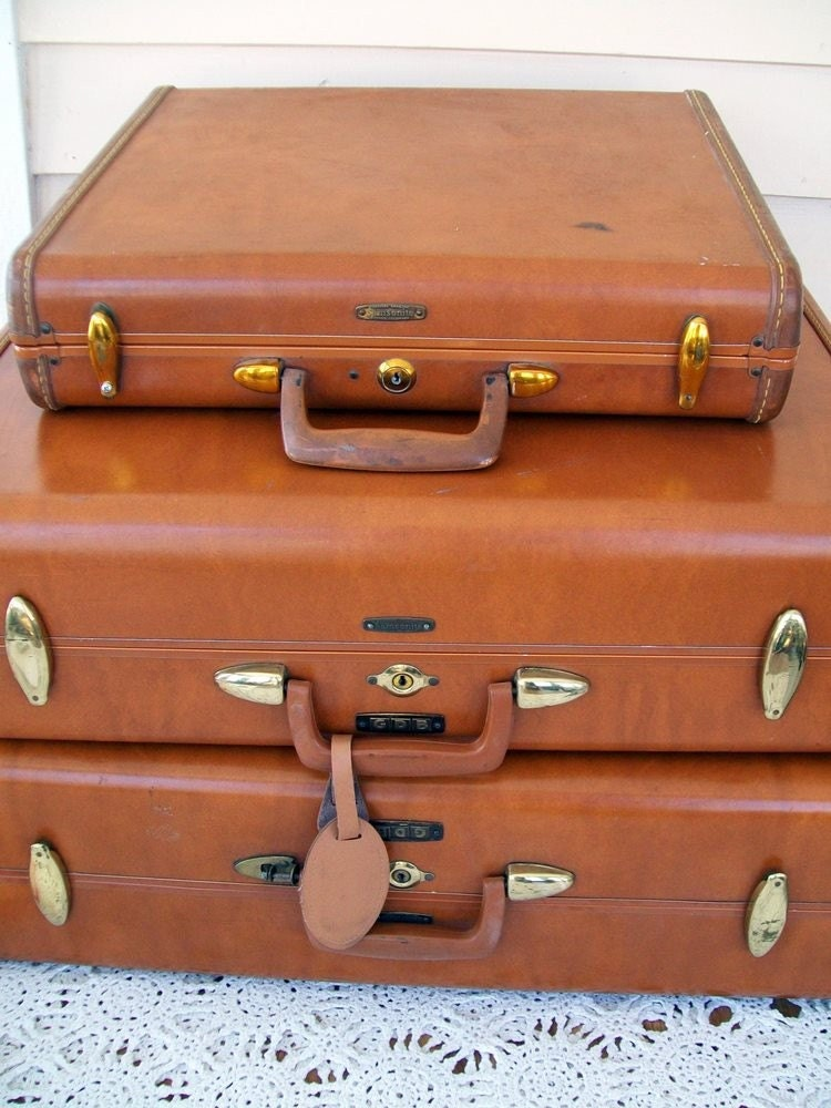 Vintage Samsonite Brown Leather Luggage set With Briefcase FREE SHIPPING
