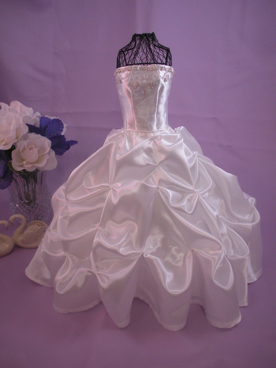 Centerpiece custom miniature bridal gown wedding by for How to dress a wedding table