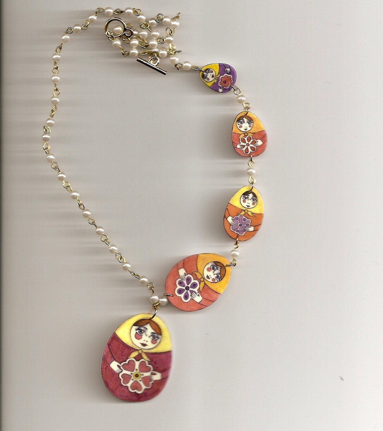 Nesting Doll Faux Pearl Necklace