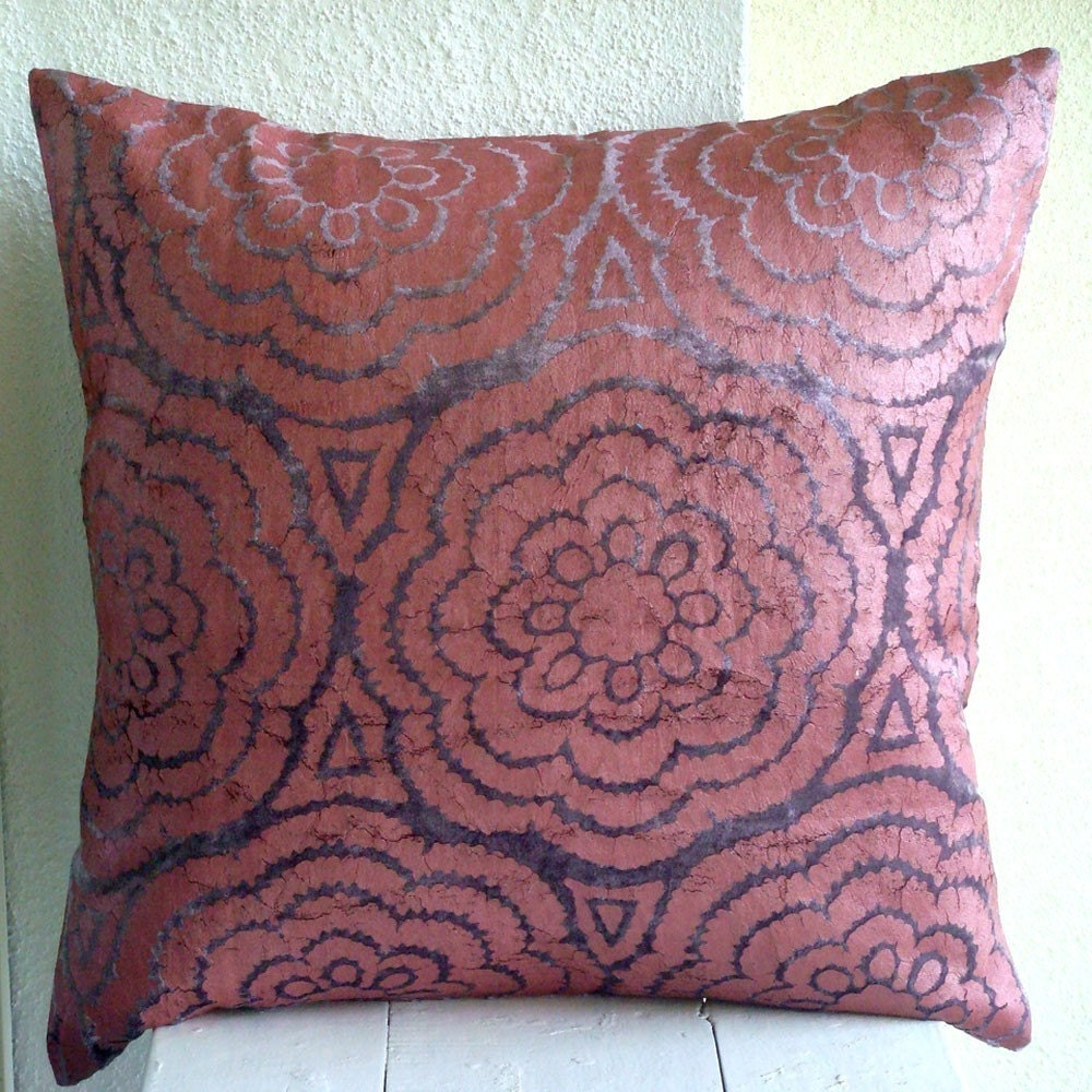 Violet Velvet - Throw Pillow Covers - 16x16 Inches Velvet Pillow Cover with Floral Design