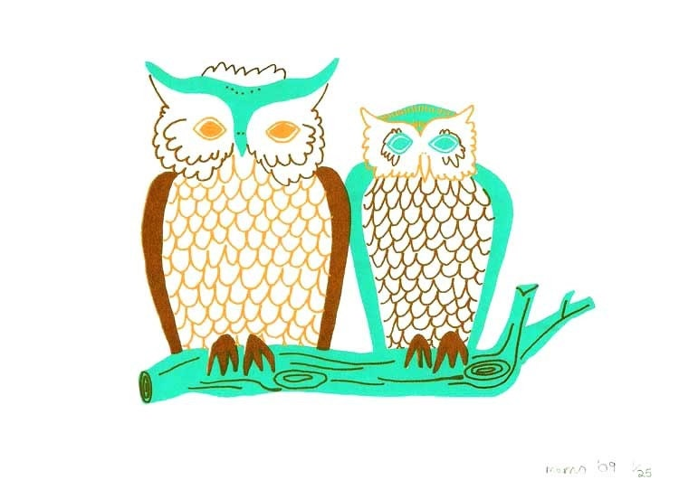owls screen print