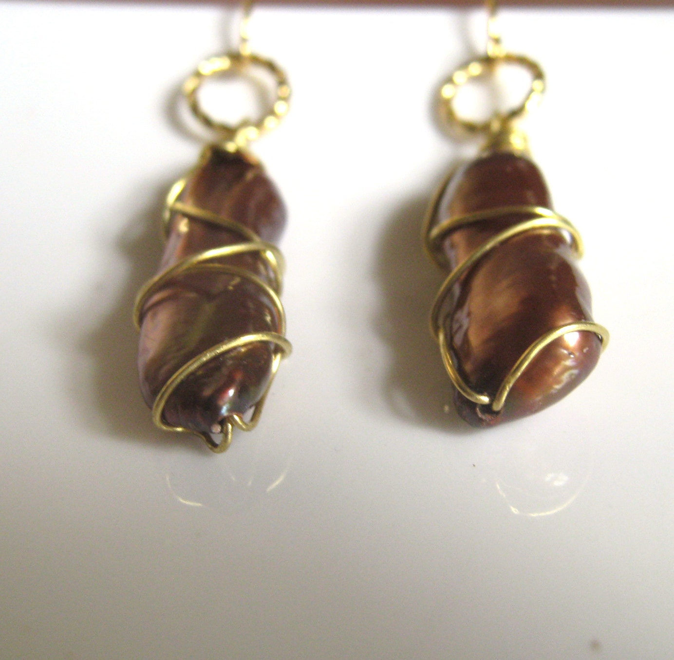 Bronze and Gold Earrings - wire wrapped stick pearls