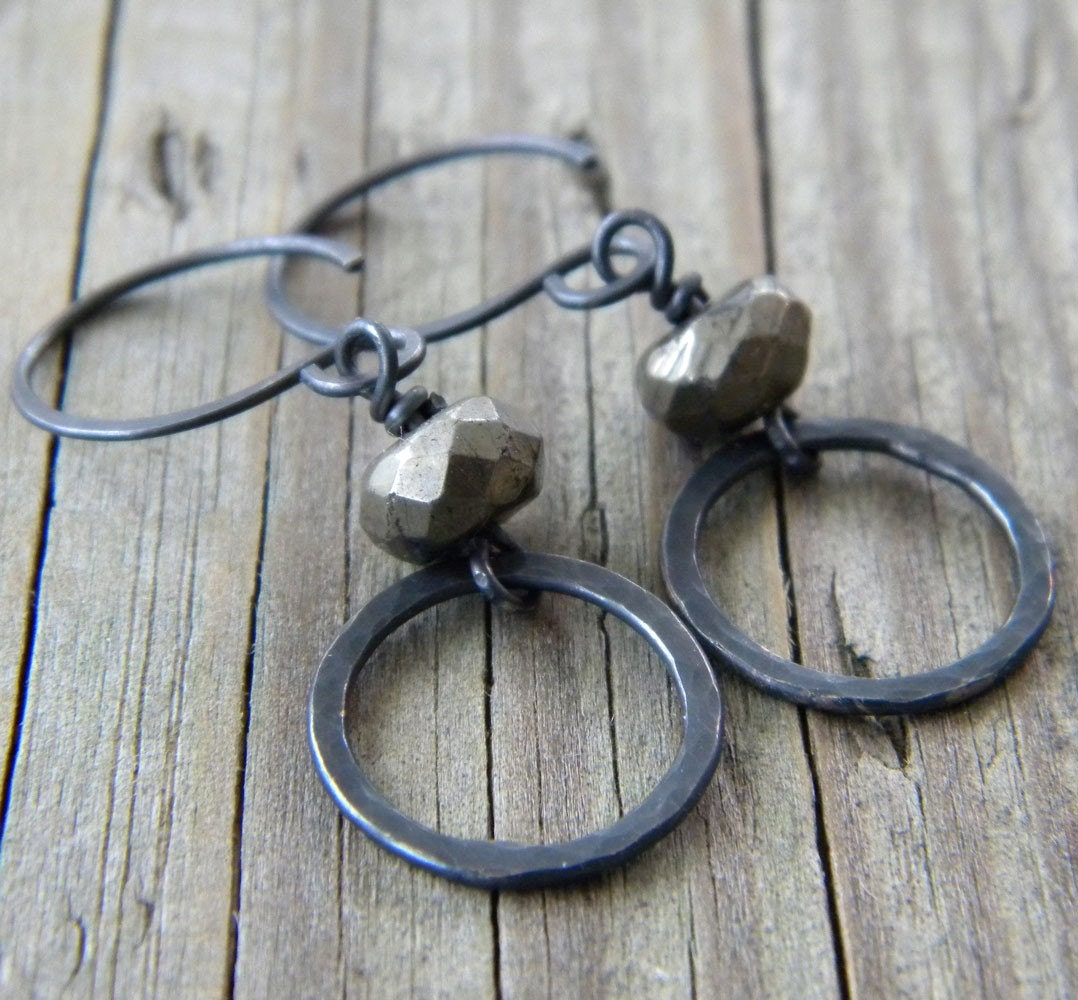 Blackened Sterling Silver Ring -  Pyrite Faceted Rondelle (Fool's Gold) - Earrings