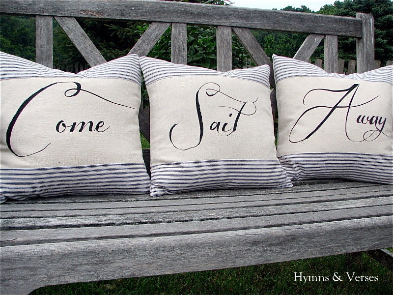 Come Sail Away - Nautical Pillow Cover Set with Rope Detail