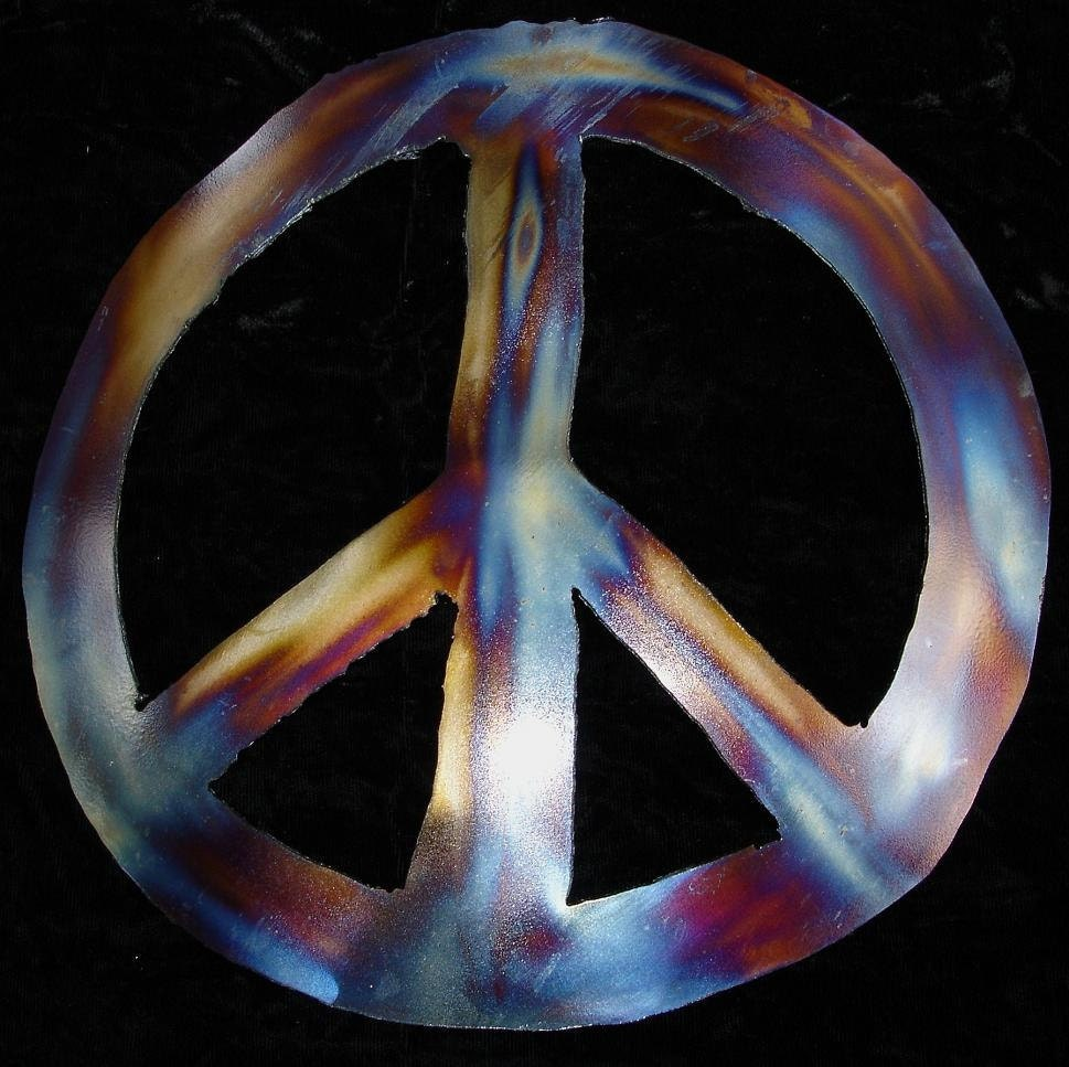 Peace Sign Wall Decor Metal : Peace sign symbol hippie s metal wall accent art by