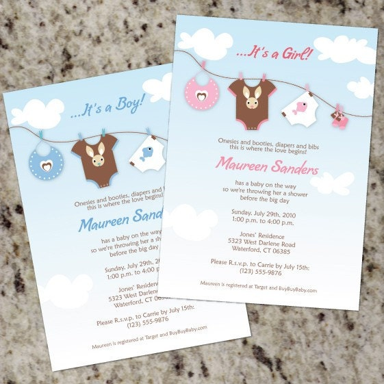 LAUNDRY DAY - Baby Shower Invitations- Print Your Own - BOY, GIRL, or