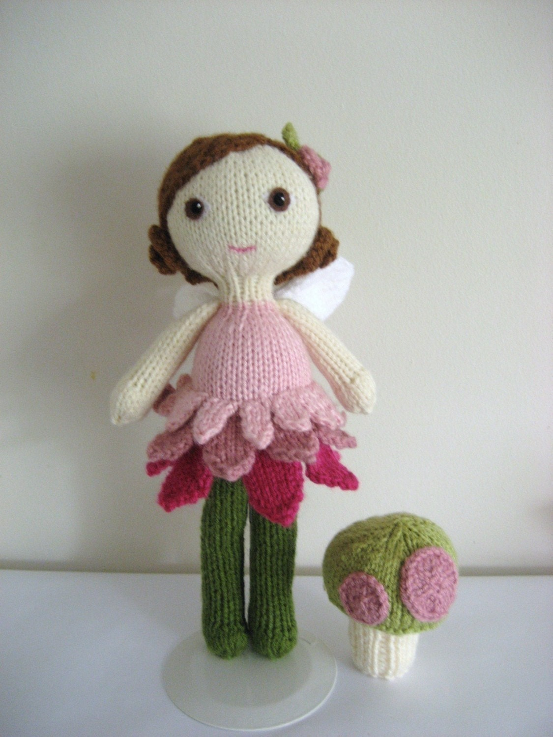 PDF- Knit Fairy Doll and Mushroom Pattern Set