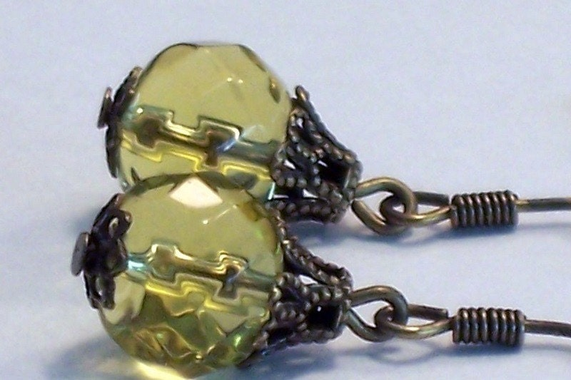 Antique Lemon Yellow Earrings - Sale 20% Off