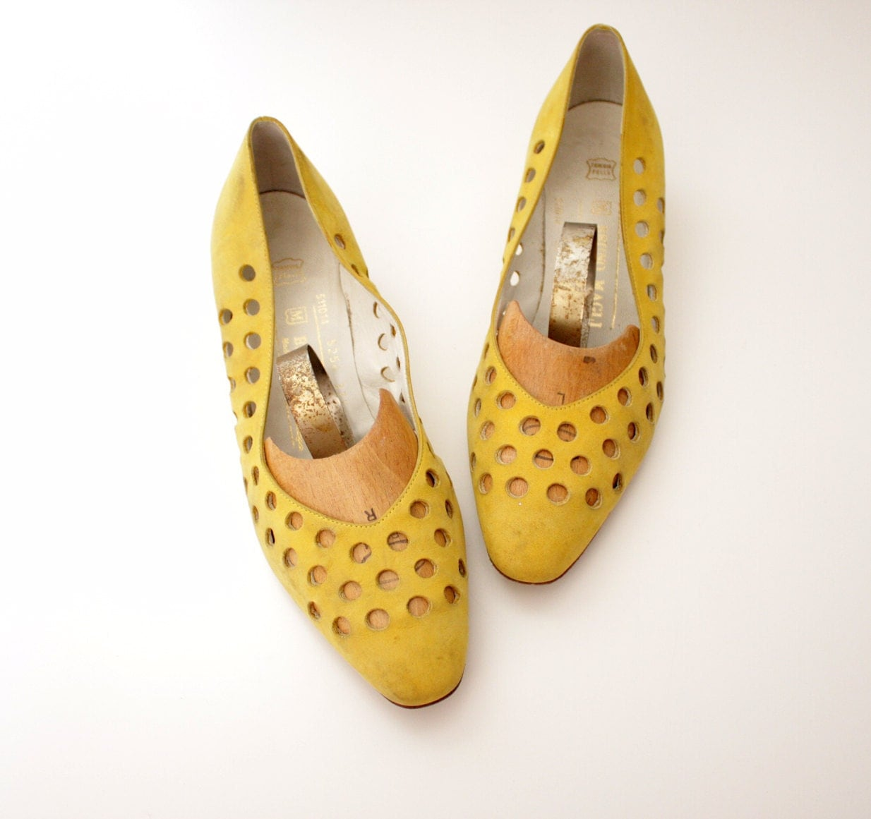 retro polka dotted yellow leather womens short heels