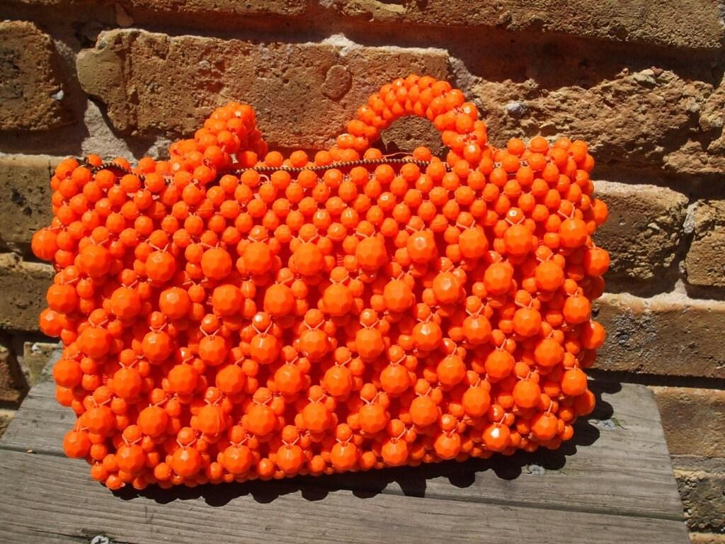 Vintage 1960s Mod Orange Beaded Handbag, Made in Italy