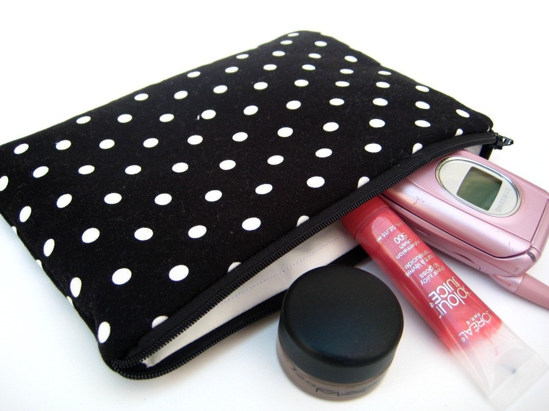 Slim Zipper Pouch in Black and White Polka Dots