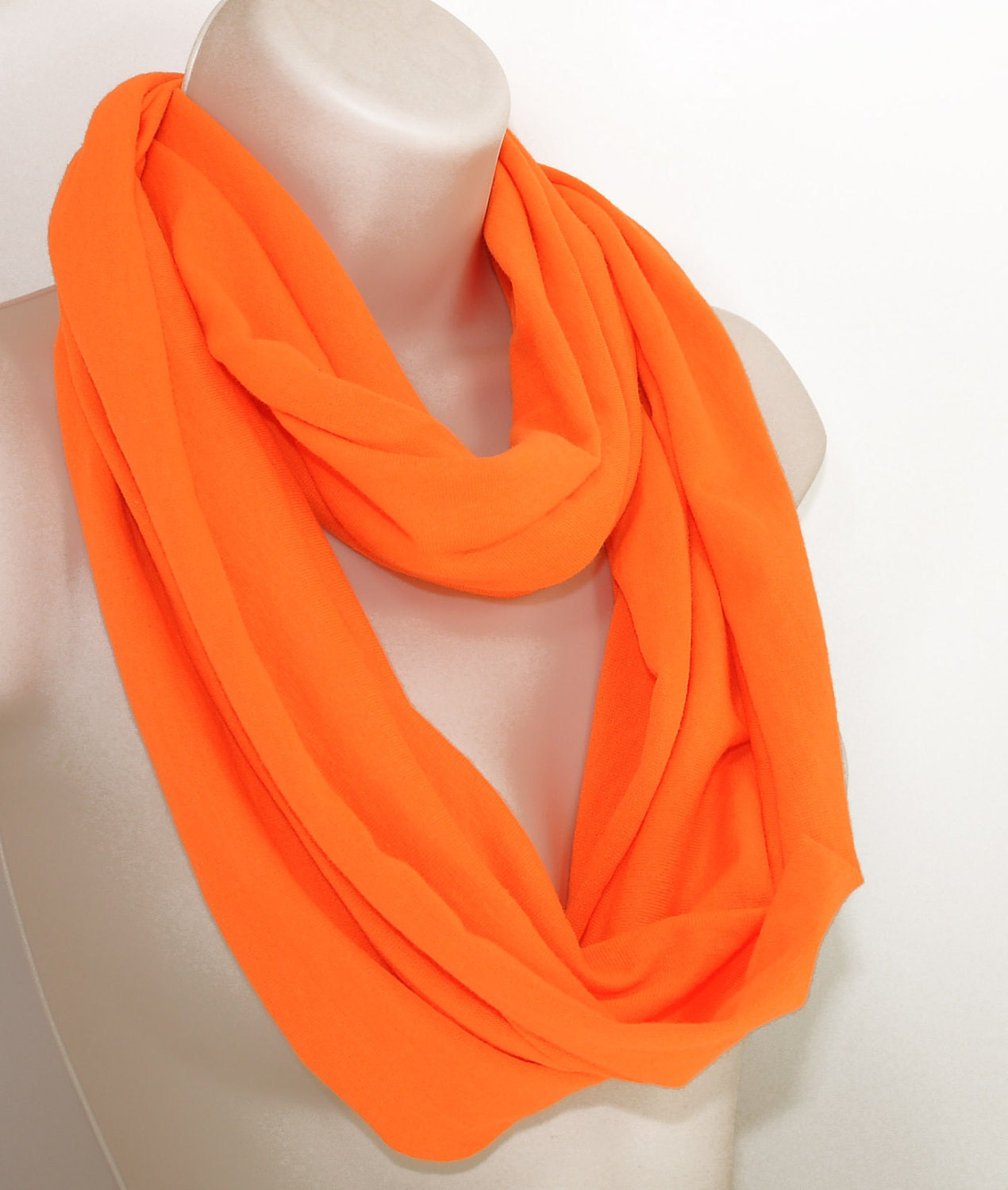 Neon Orange Tangerine Spring Infinity Scarf by ForgottenCotton on Etsy