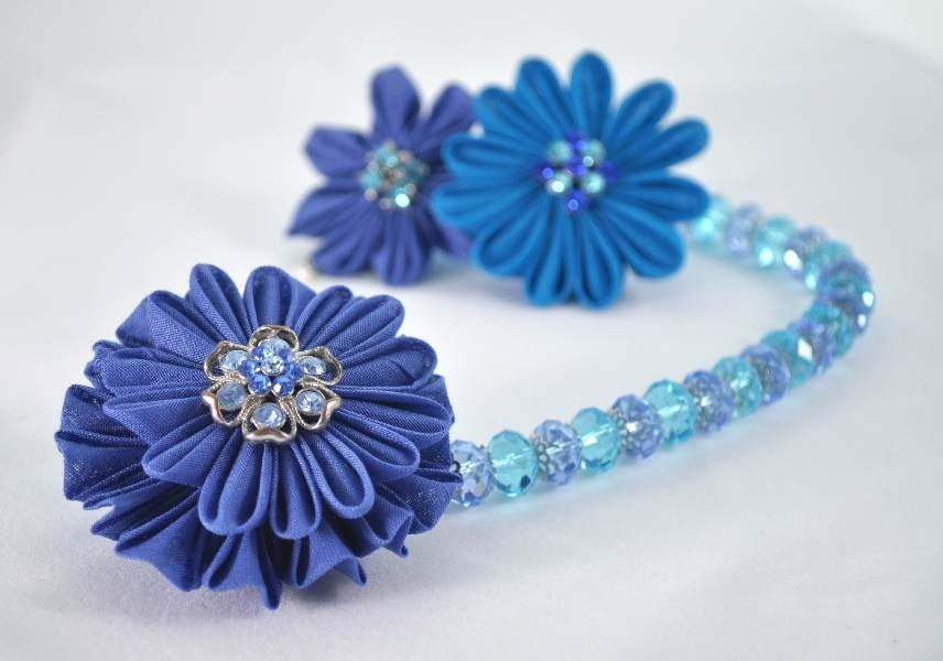 Blue Kanzashi Fabric Flower Necklace - (Ready To Ship)