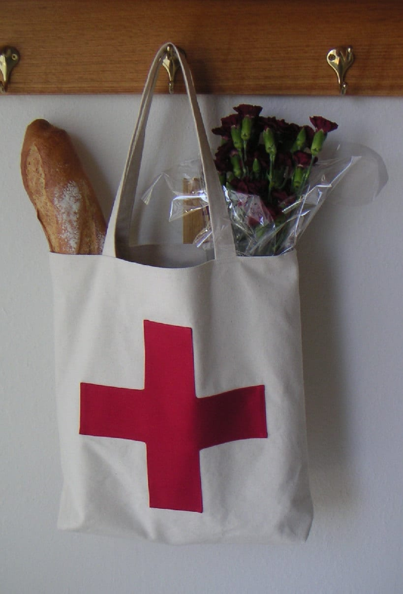 Canvas bag with red cross, tote bag - CentralFabrications