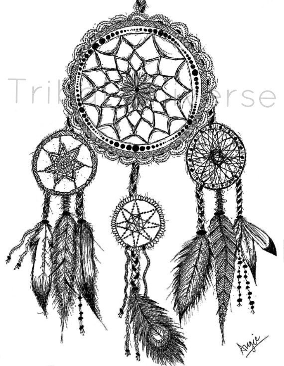 Dreamcatcher Pen And Ink Drawing By TribalUniverse On Etsy